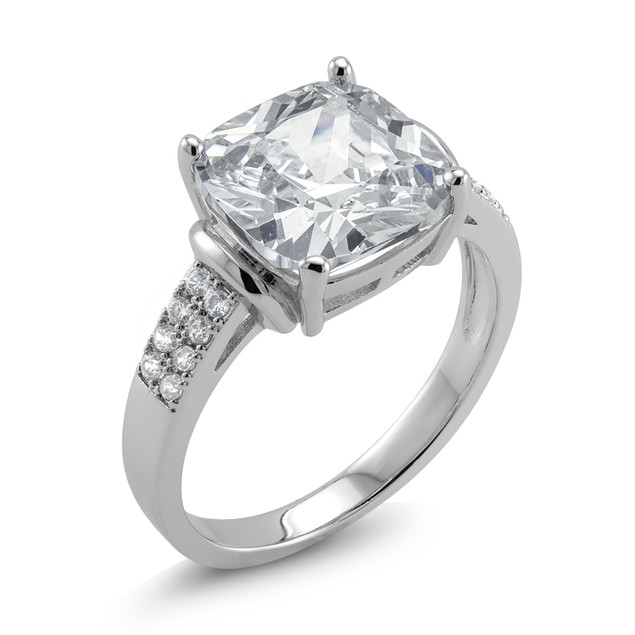 18kt White Gold Wide Square Engagement Ring