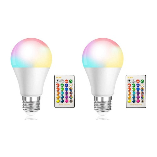 2 Pack LED Bulbs, Remote Control 5W A19 E26 RGB Bulbs Dimmable