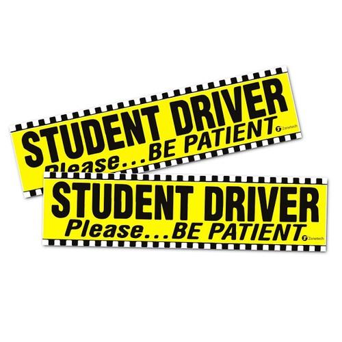 "Zone Tech 2x Student Driver Please Be Patient Car Bumper Magnet Decal 12x3"""