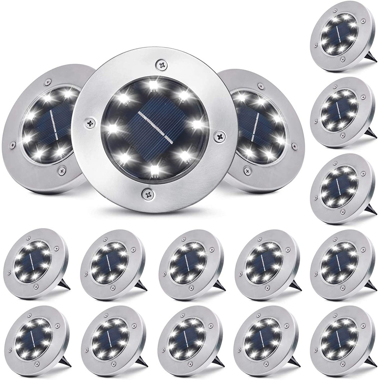16-Pack Outdoor Waterproof Solar Ground/Pathway 8-LED Lights