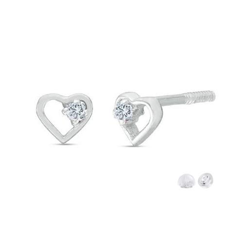 0.925 Sterling Silver Cubic Zirconia Petite Open Heart Outline Children's Screw-Backs Stud Earrings