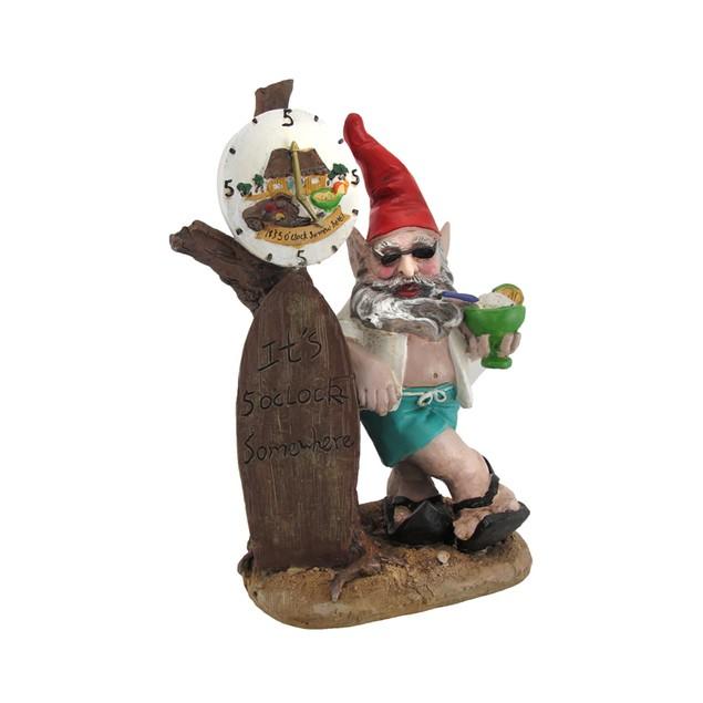 5 O'clock Somewhere Beach Bum Gnome Statue Outdoor Statues