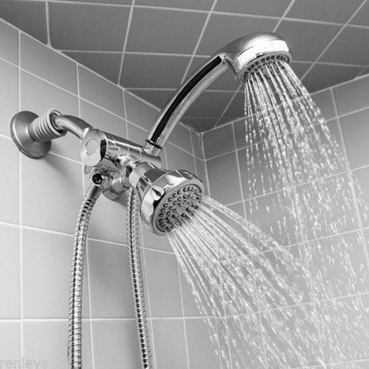 Chrome-Finish Massaging Double Showerhead with Hose - Tanga