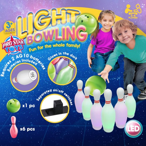 Pro Star Kid's Light Bowling Game Set, Glow in the Dark Ages 3+