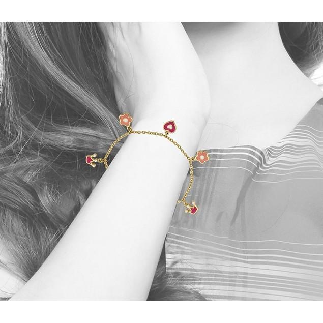 "18KGP Multi Color Enameled Crown, Heart, & Flower Children's Charm Bracelet (5""+2""Extention)"