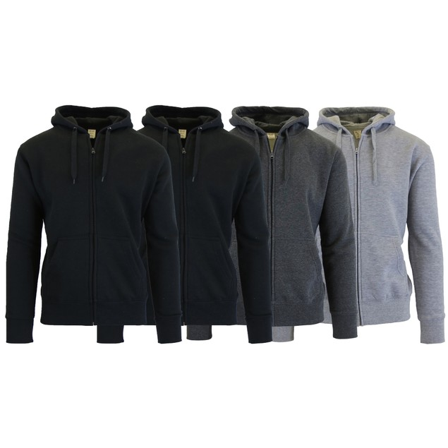 4-Pack Men's Fleece Zip Hoodie