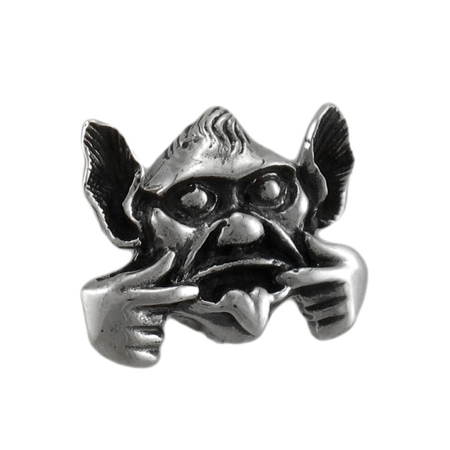 Sterling Silver Face Making Gargoyle Pendant Pendants