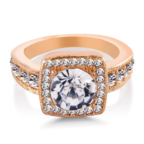 18kt Yellow Gold Cubic Zirconia Engagement Ring