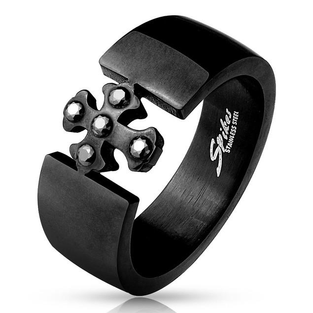 Black Stone set Cross Center IP Black Stainless Steel Ring