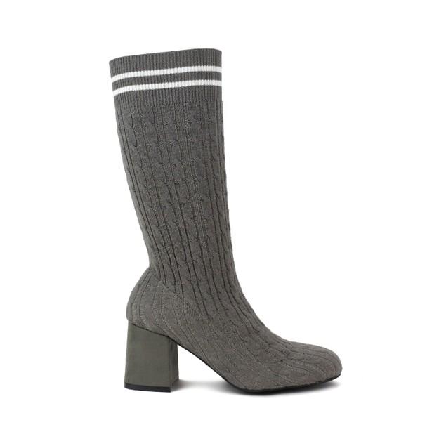 Olivia Miller 'Cunningham' Chunky Heel Knit Sweater Booties