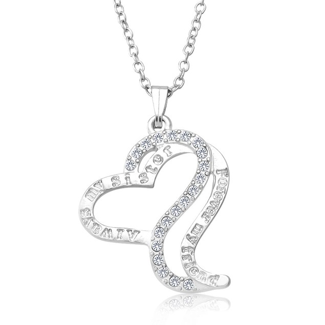 Always My Sister Forever My Friend Heart Necklace