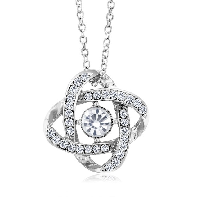 Cubic Zirconia Eternal Knot Crystal Pendant Necklace