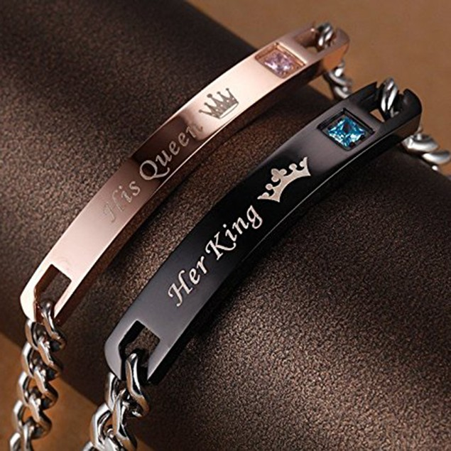 2 Bracelets: His & Hers Stainless Steel Engraved ID Bracelets - 4 Styles