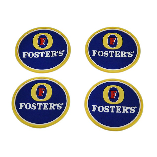 Set Of 4 Fosters Beer Rubber Coasters Mini Coasters