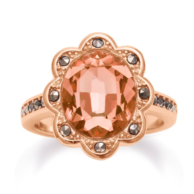 4ct Oval Shape Crystal Morganite and Marcasite Halo Rose Tone Ring