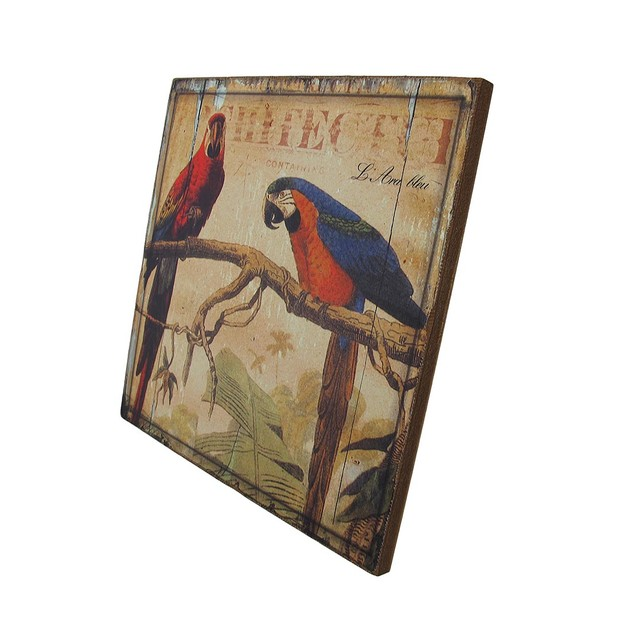 Weathered Look Wooden Macaw Parrot Wall Plaque Decorative Plaques