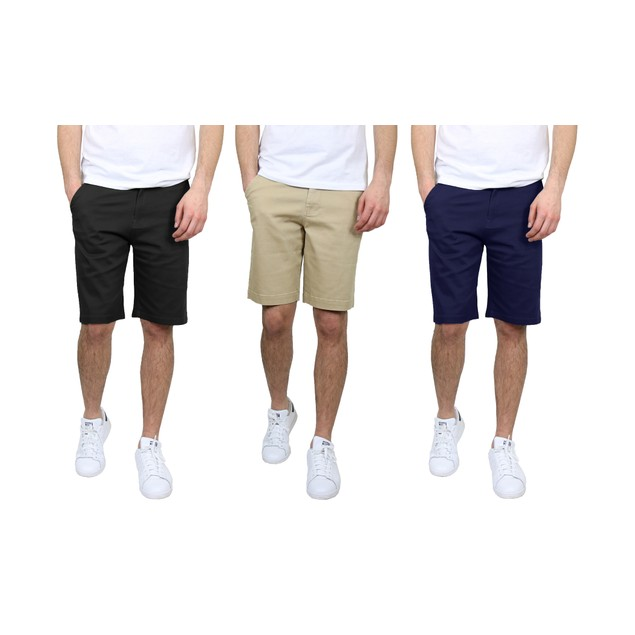 3-Pack Men's 5-Pocket Flat-Front Stretch Chino Shorts