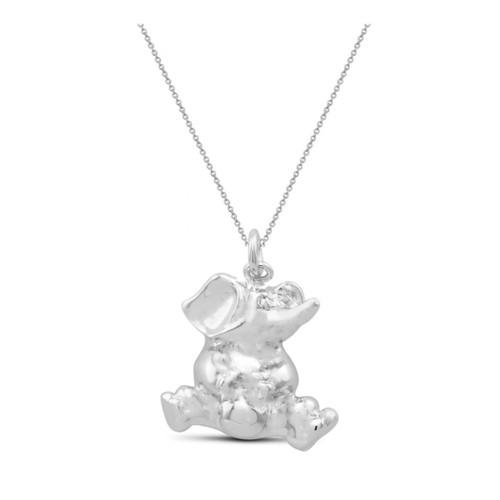 "0.925 Sterling Silver High Polished Plain Elephant Shape Pendant W/ 18"" Cable Chain Set"