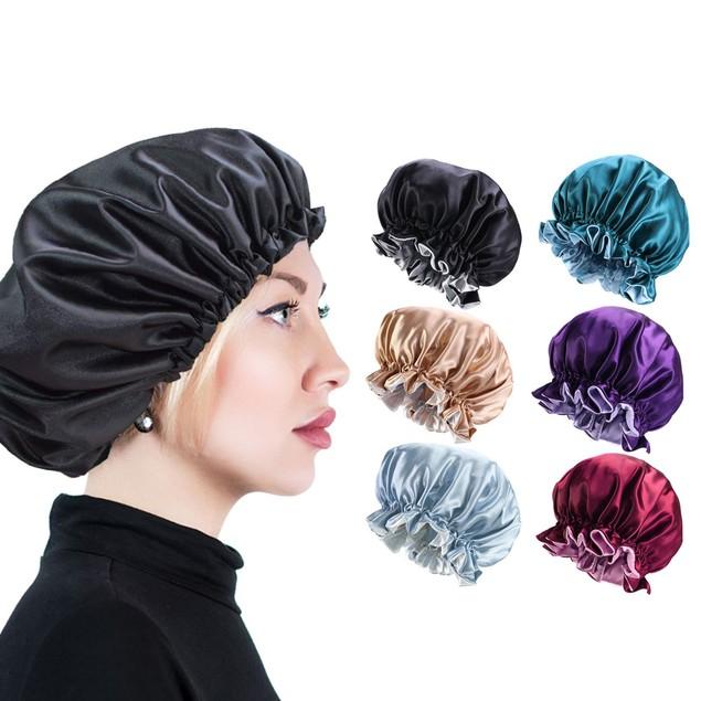 Women's Double Layer Reversible Silky Headscarf Sleeping Bonnet Hair Cap