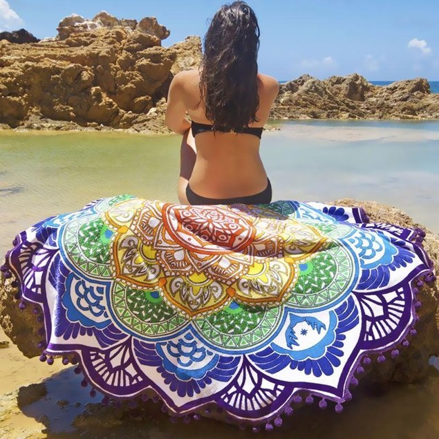 Two Elephants Lotus Flower Beach Coverup and Throw