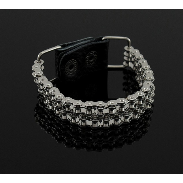 Chrome Plated Double Bike Chain Link 9 Inch Mens Chain Bracelets