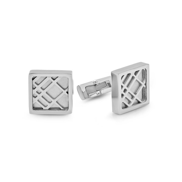 Box Set Stainless Steel Cut Out Square Cufflinks