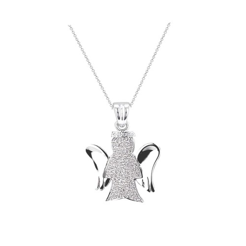 "0.925 Sterling Silver Angle Shape Cubic Zirconia Pendant W/ 18"" Cable Chain Set"