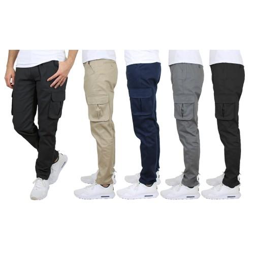 2-Pack Men's Cotton Flex Stretch Cargo Pants (Multiple Inseams)