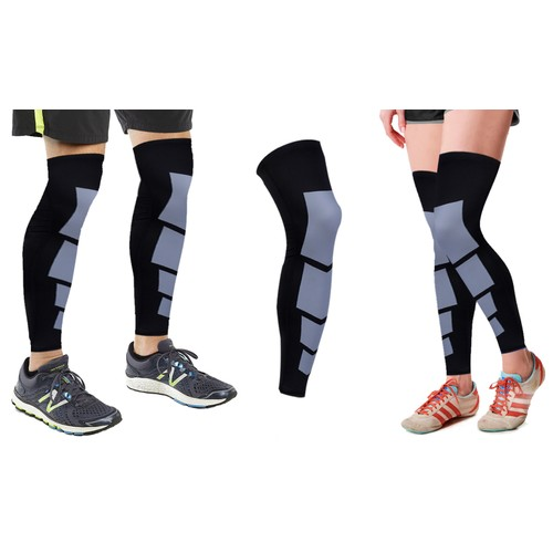 1-Pair : Unisex Full-Length Knee and Calf Compression Sleeves