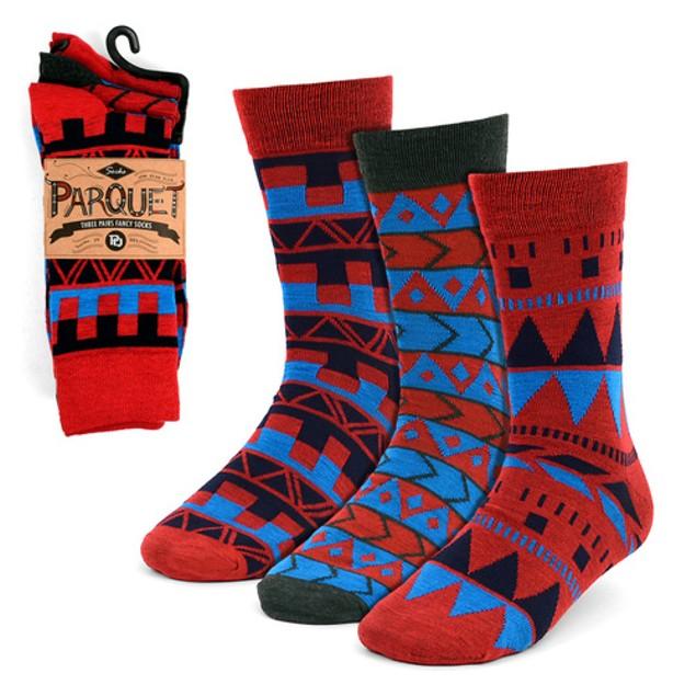 6 Pairs Men's Parquet Printed Dress Socks