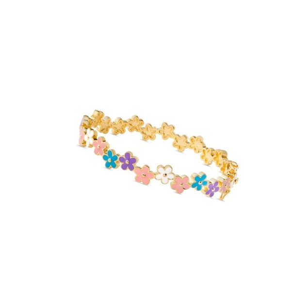 18K Gold Plated Multi Colored Enameled Daisies Children's Bangle Bracelets