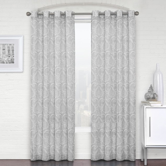 Ruthy's Textile 2-Piece Semi-Sheer Paisley Grommet Curtains