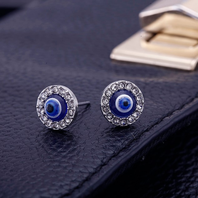 Cubic Zirconia Evil Eye Stud Earrings - 3 Styles