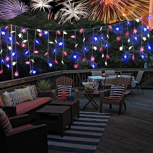 3 Pack: Red White & Blue Bye-Bugs Citronella Star Lights 9.8ft