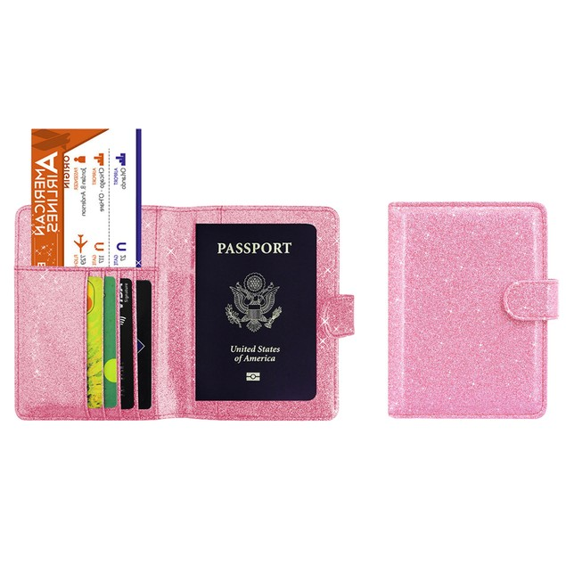 Designer Bling  RFID Passport Organizer  with CDC Vaccination Card Holder
