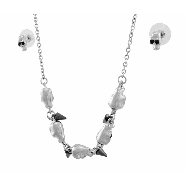 Silver Tone Skulls And Spikes Necklace And Womens Earring And Necklace Sets