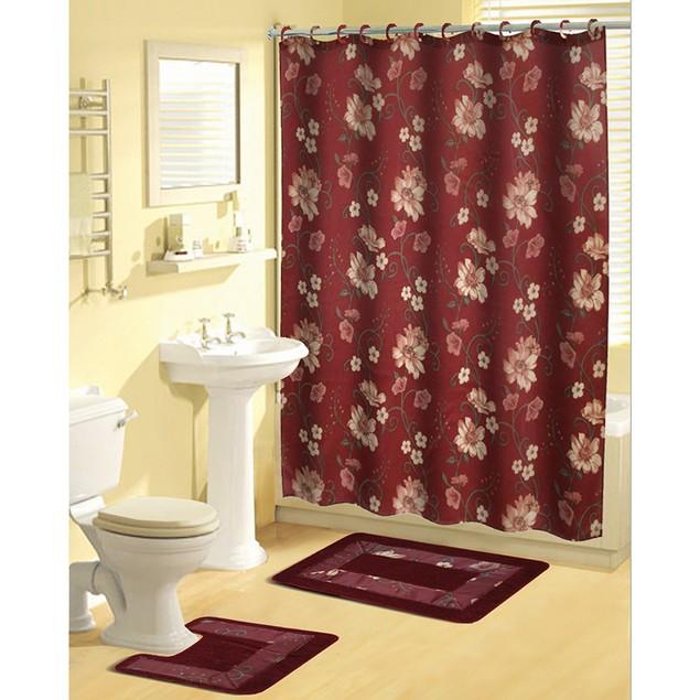 18-Piece Bath Set: Bath Boutique Shower Curtain and Bath Rug Set