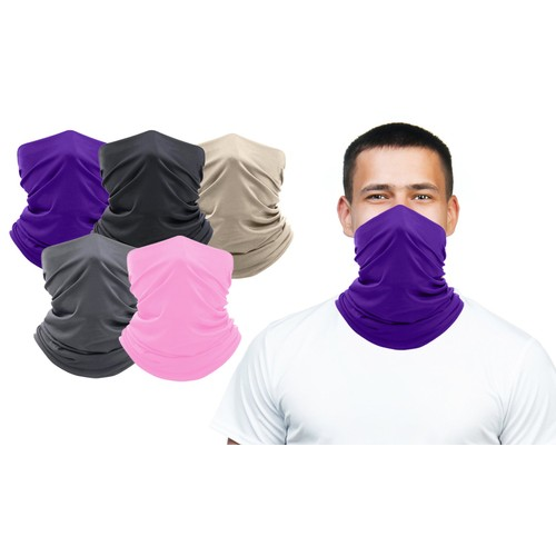 5-Pack Copper Infused Washable & Reusable Moisture-Wicking Face Mask
