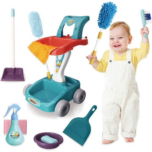 Pretend Play Housekeeping Cart Cleaning Toy Set for Kids and Toddler