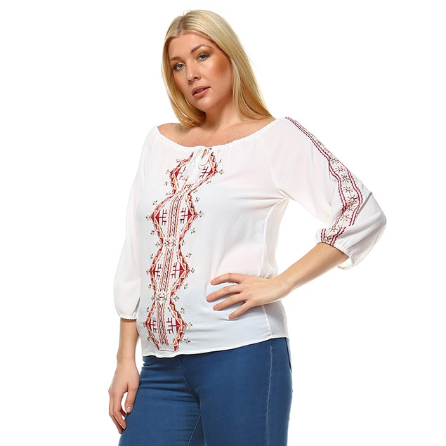White Mark Universal Plus Size Harriet Embroidered Peasant Top