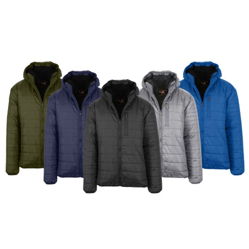 Men's Sherpa-Lined Hooded Puffer Jacket (Sizes S to 2XL)