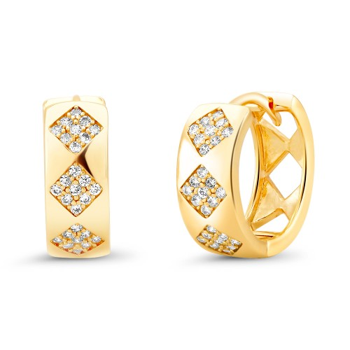 18kt Yellow Gold Cubic Zirconia Huggie Earrings