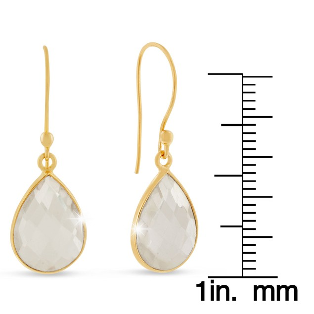 Gold Tone 12ct Clear Quartz Pear Shape Earrings