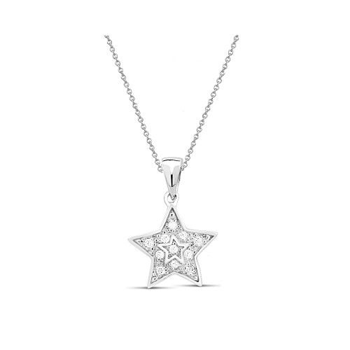 """0.925 Sterling Silver Rhodium Finished Star Shape Cubic Zirconia Pendant W/ 18"""" Cable Chain Set"""