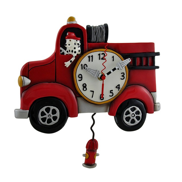 Allen Designs Red Fire Engine Pendulum Wall Clock Wall Clocks
