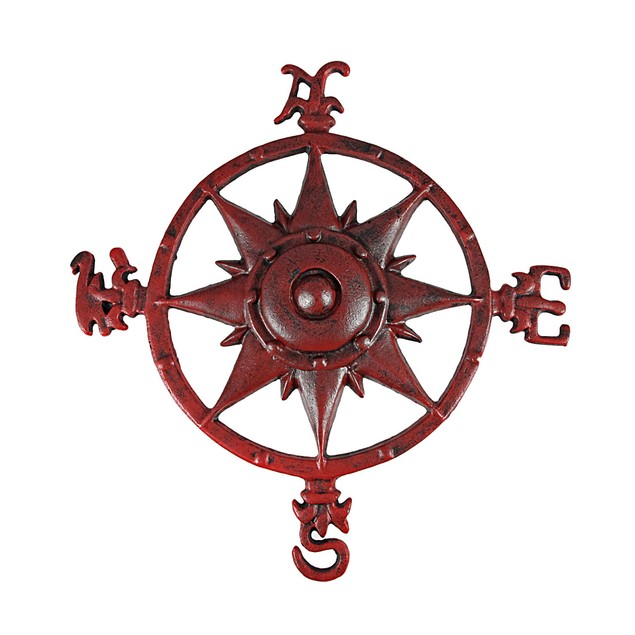 Distressed Finish Red Enamel Compass Rose Wall Wall Sculptures