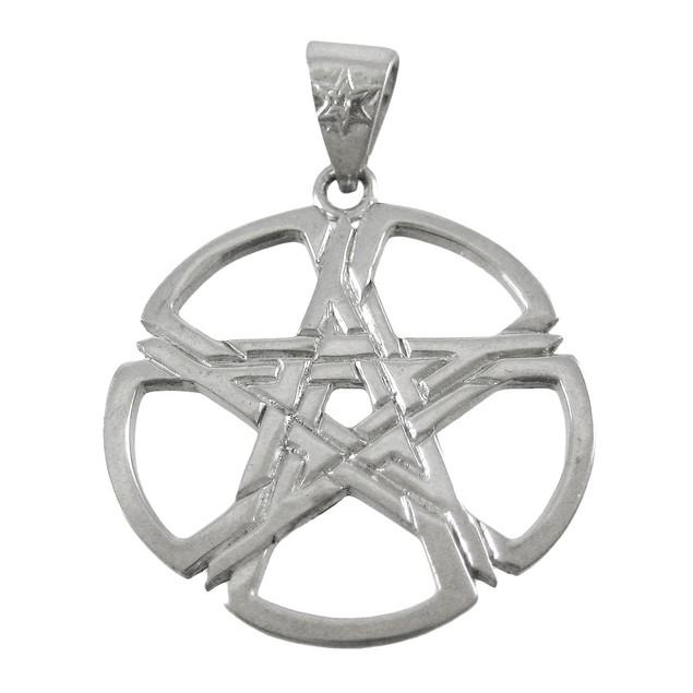 Beautiful Silvertone Woven Pentacle Pendant Pagan Pendants