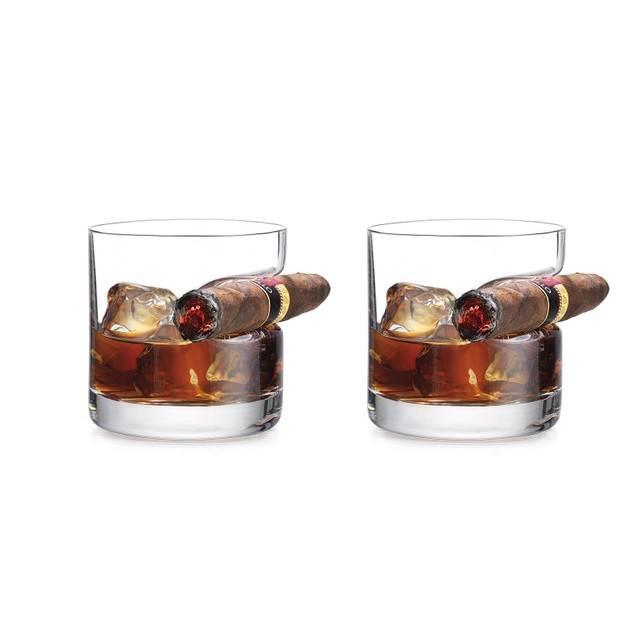 Old Fashioned Whiskey Glass with Indented Cigar Rest