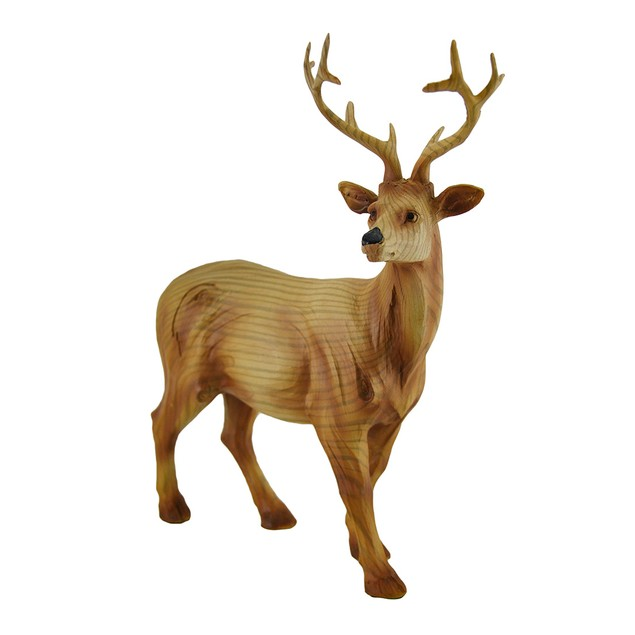 Decorative Faux Finish Carved Woodland Deer Statue Statues