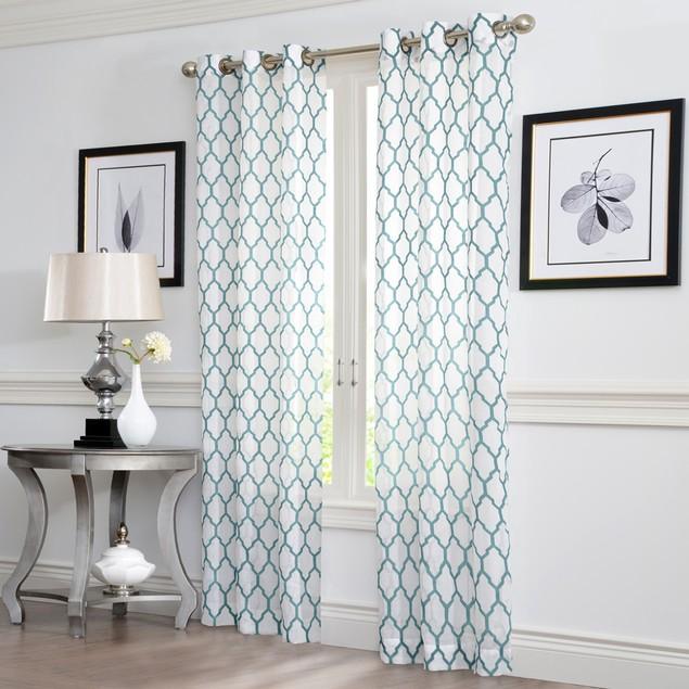 Ruthy's Textile 2 Piece Geo Flocked Sheer Grommet Window Curtain Panels